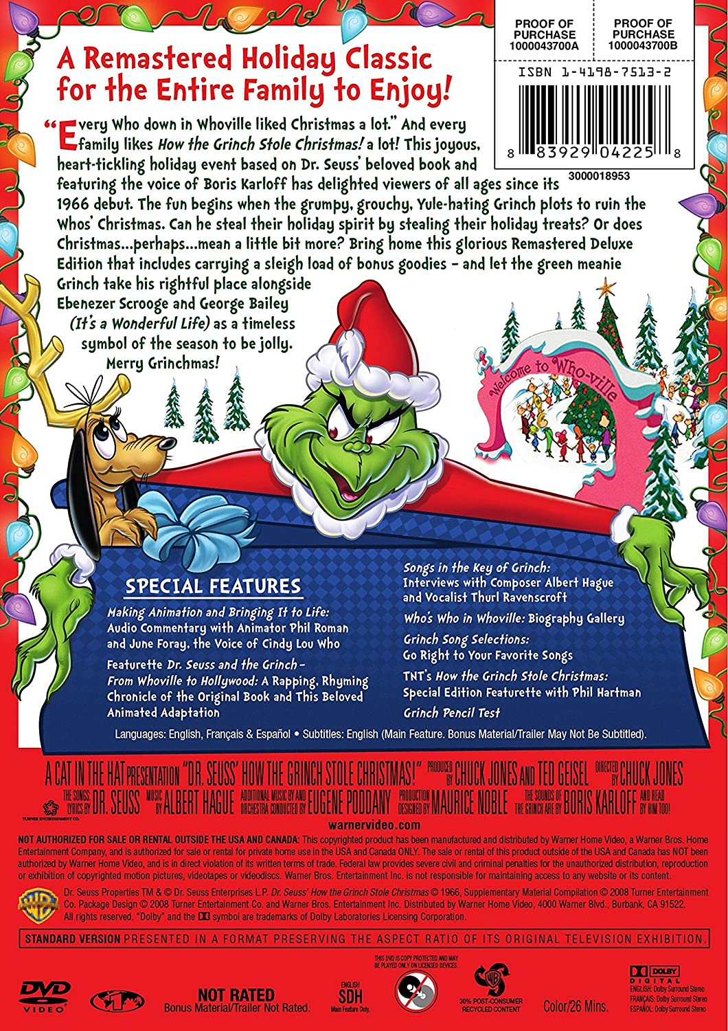amazoncom dr seuss how the grinch stole christmas deluxe edition boris karloff dr seuss movies tv - How The Grinch Stole Christmas Putlocker