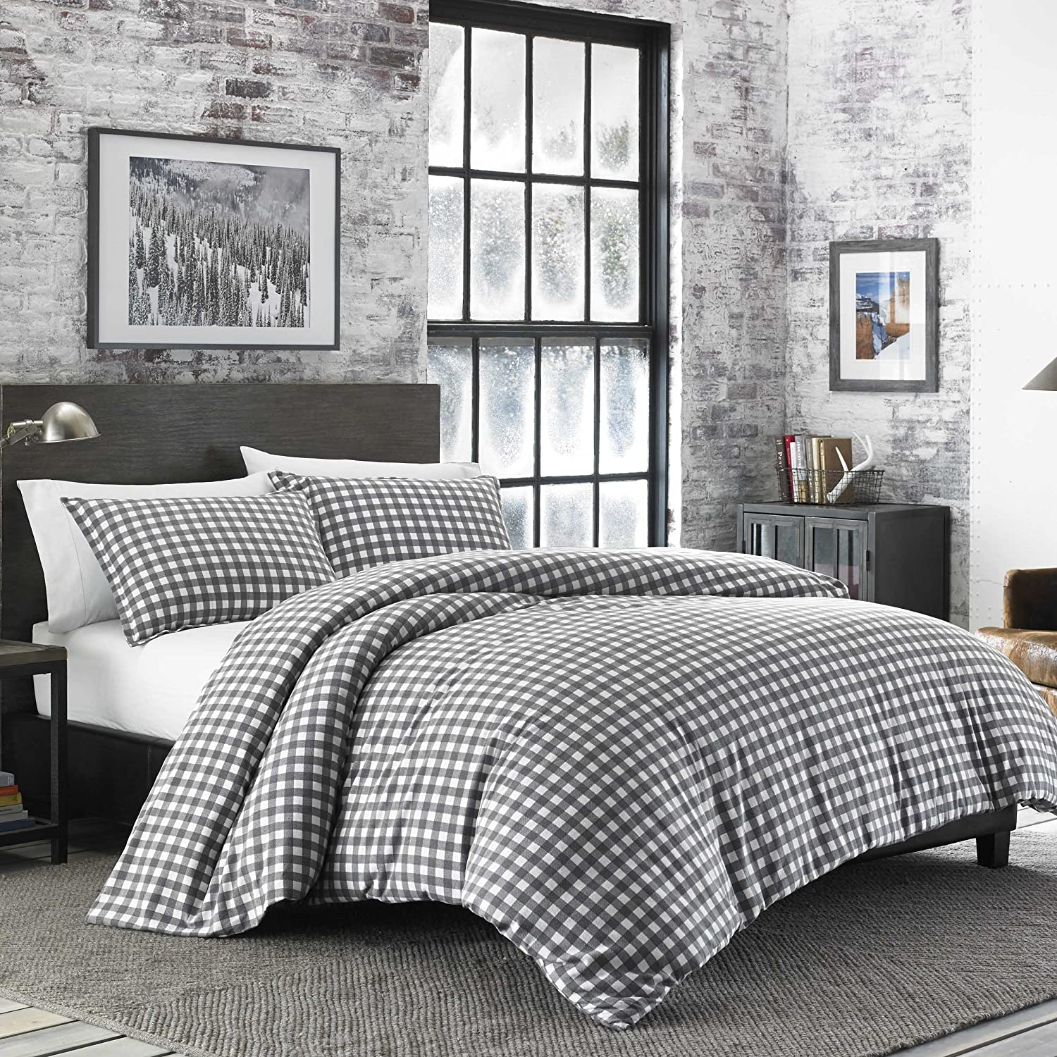 Eddie Bauer Preston Duvet Cover Set, King, Dark Grey