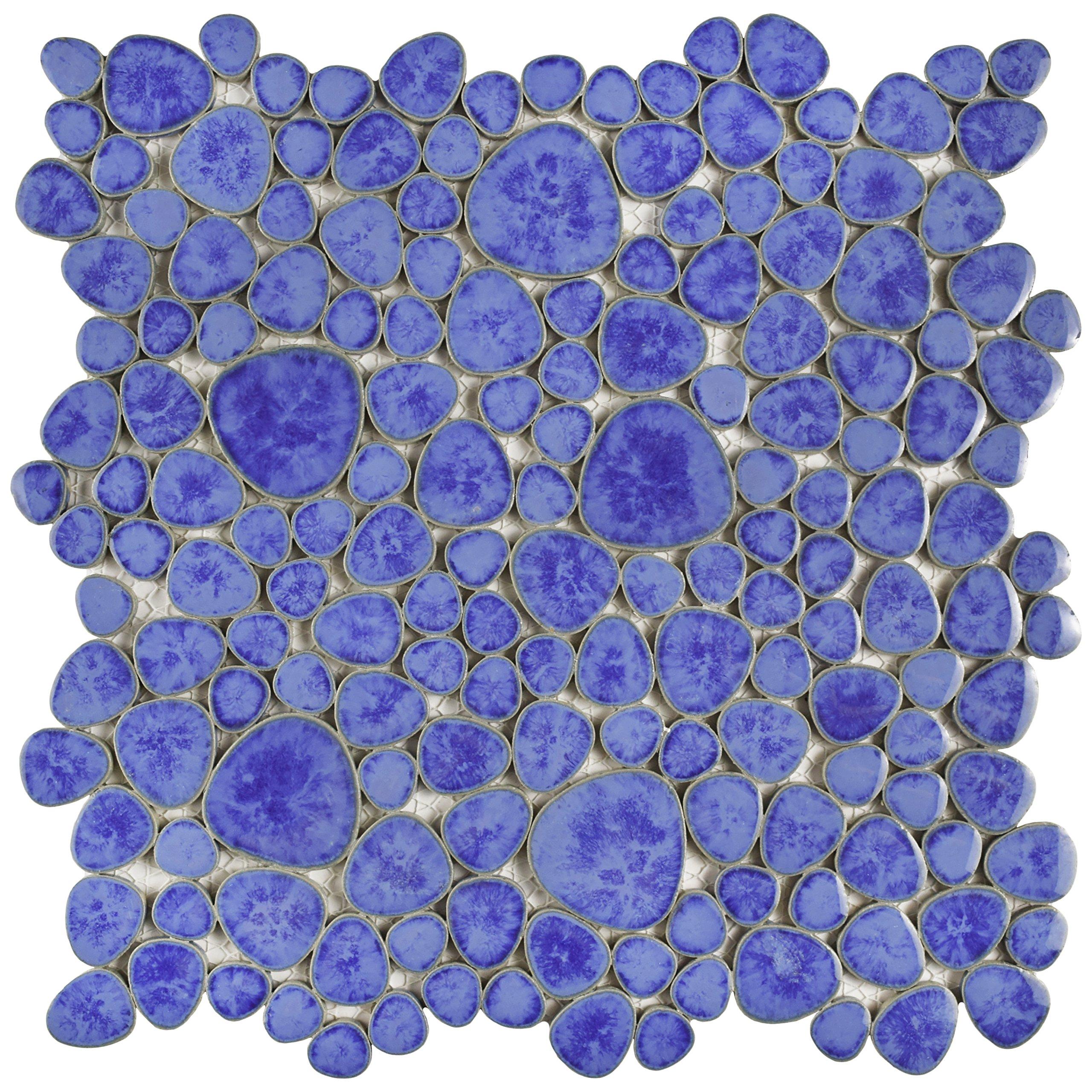 SomerTile FKOPS144 Boulder Cloud Porcelain Floor and Wall Tile, 11'' x 11'', Blue