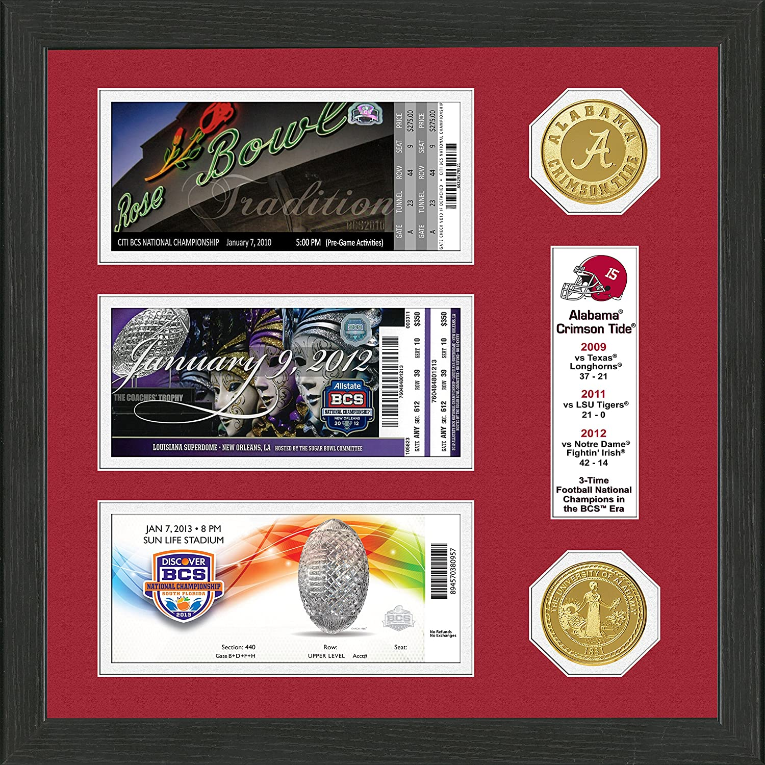 Bronze 17 x 13 x 4 The Highland Mint NCAA Alabama Crimson Tide BCS Champions Ticket and Coin Frame