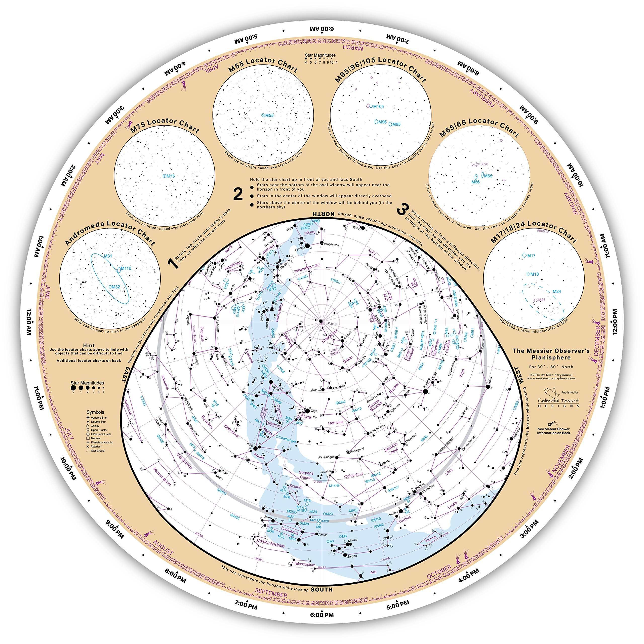 image about Planisphere Printable identified as Messier Observers Planisphere: Mike Krzywonski