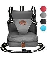 KIDUKU® Trona portátil de bebés, cojín elevador para viaje, asiento portátil para niños, sillita inflable con dos arneses de seguridad, compacta y ligera, ideal para cualquier actividad en la que sea necesaria una silla elevadora para niños (Gris)