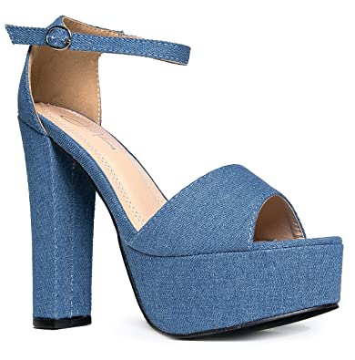 d99a767d9501 J. Adams Platform Ankle Strap High Heel - Peep Toe Sandal Pump - Formal  Chunky