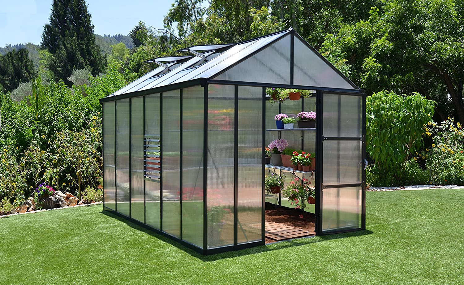amazon com palram glory hobby greenhouse 8 u0027 x 12 u0027 garden