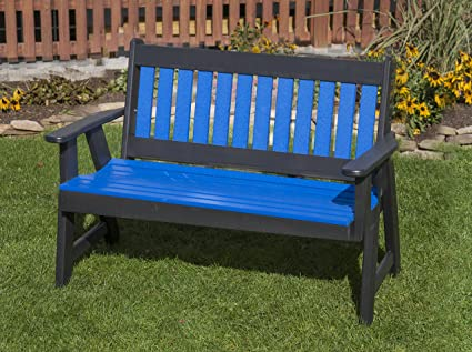 Enjoyable Amazon Com 5Ft Blue Poly Lumber Mission Porch Bench Heavy Pdpeps Interior Chair Design Pdpepsorg