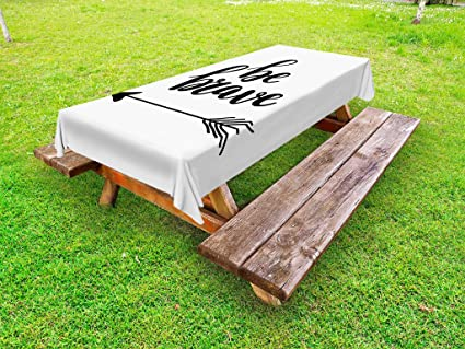 Amazing Amazon Com Lunarable Be Brave Outdoor Tablecloth Tribal Gmtry Best Dining Table And Chair Ideas Images Gmtryco