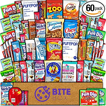 BiteBox Care Package (60 Count) Snacks Cookies Bars Chips Candy Ultimate  Variety Gift Box
