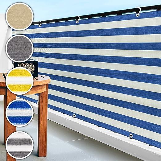casa pura Pantalla de privacidad del balcón - Cortavientos | Pantalla de jardín para protección contra Rayos UV, Sol y Viento | Pantalla de PVC para Exteriores | Azul/Blanco - 90x500cm: Amazon.es: Jardín