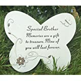 SPECIAL BROTHER Grave Memorial BUTTERFLY STONE Plaque Ornament Garden