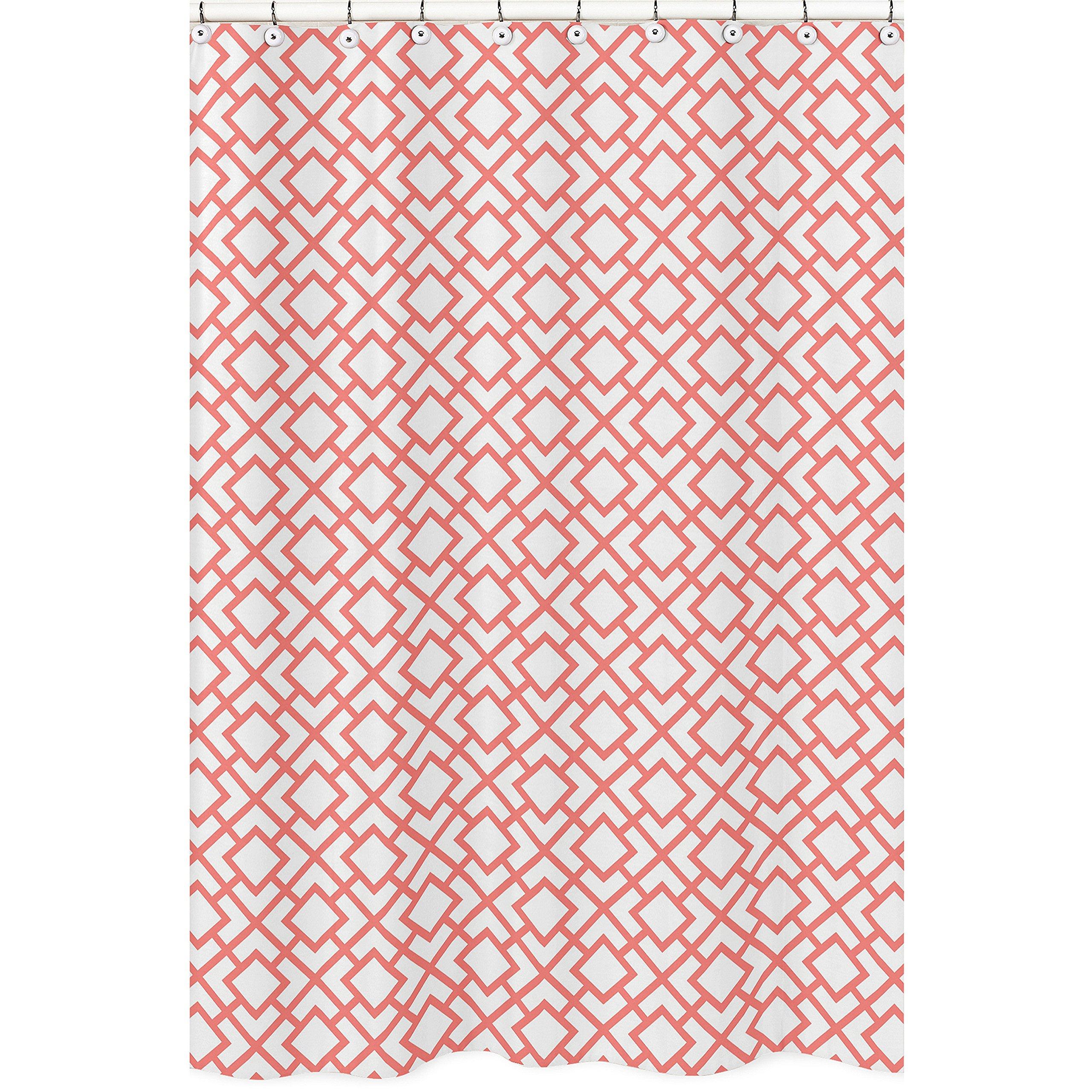 Sweet Jojo Designs Modern White and Coral Diamond Geometric Girls Kids Bathroom Fabric Bath Shower Curtain