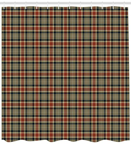 Ambesonne Tartan Shower Curtain Repeating Geometric Elements Squares And Diagonal Lines Traditional Cloth Fabric
