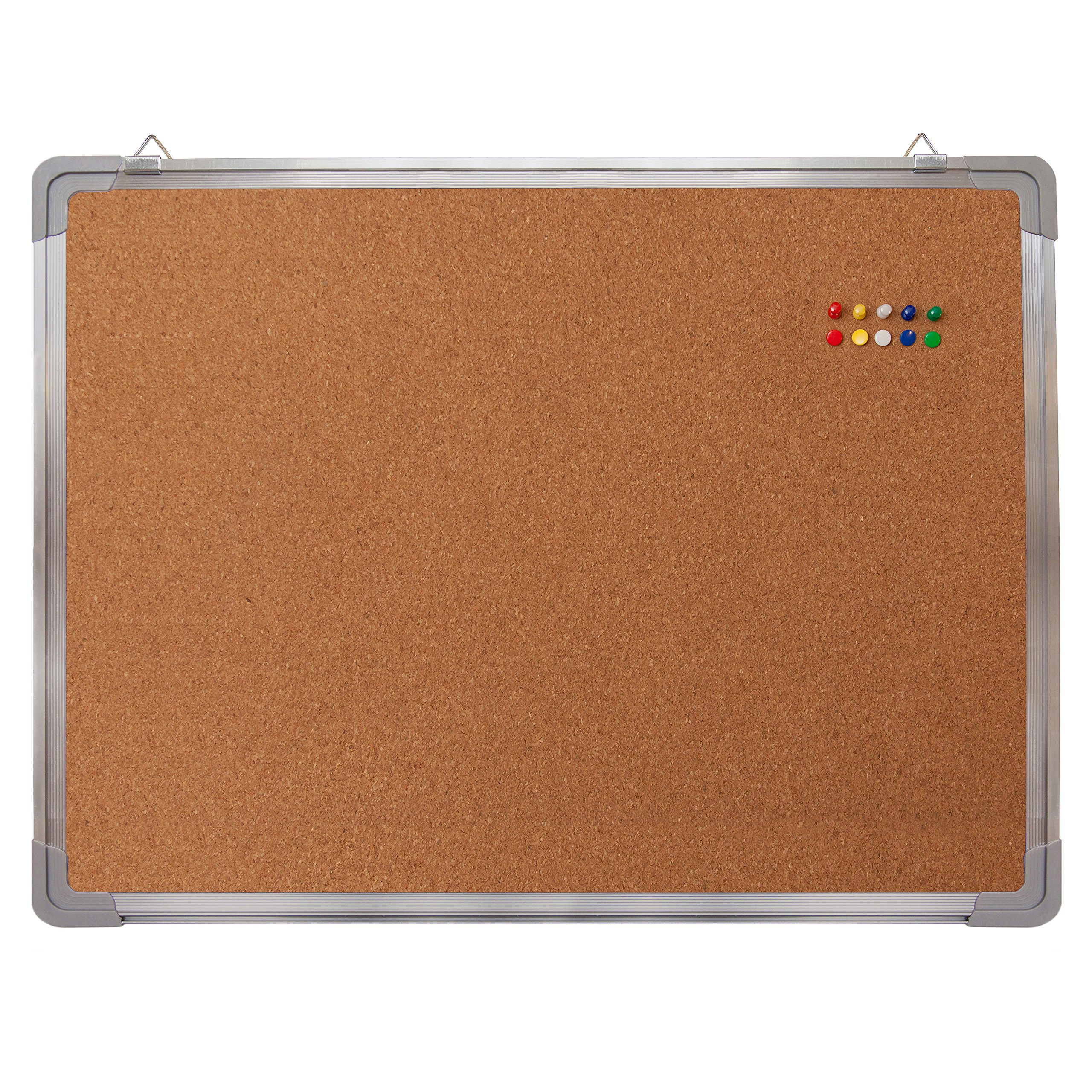 Bulletin Board Set - Cork Board 24 x 18'' + 10 Color Pins - Small Wall Hanging Tack Message Memo Picture Board for Home Office School Cubicle - Presentation, Display and Planning (Cork 24x18'')