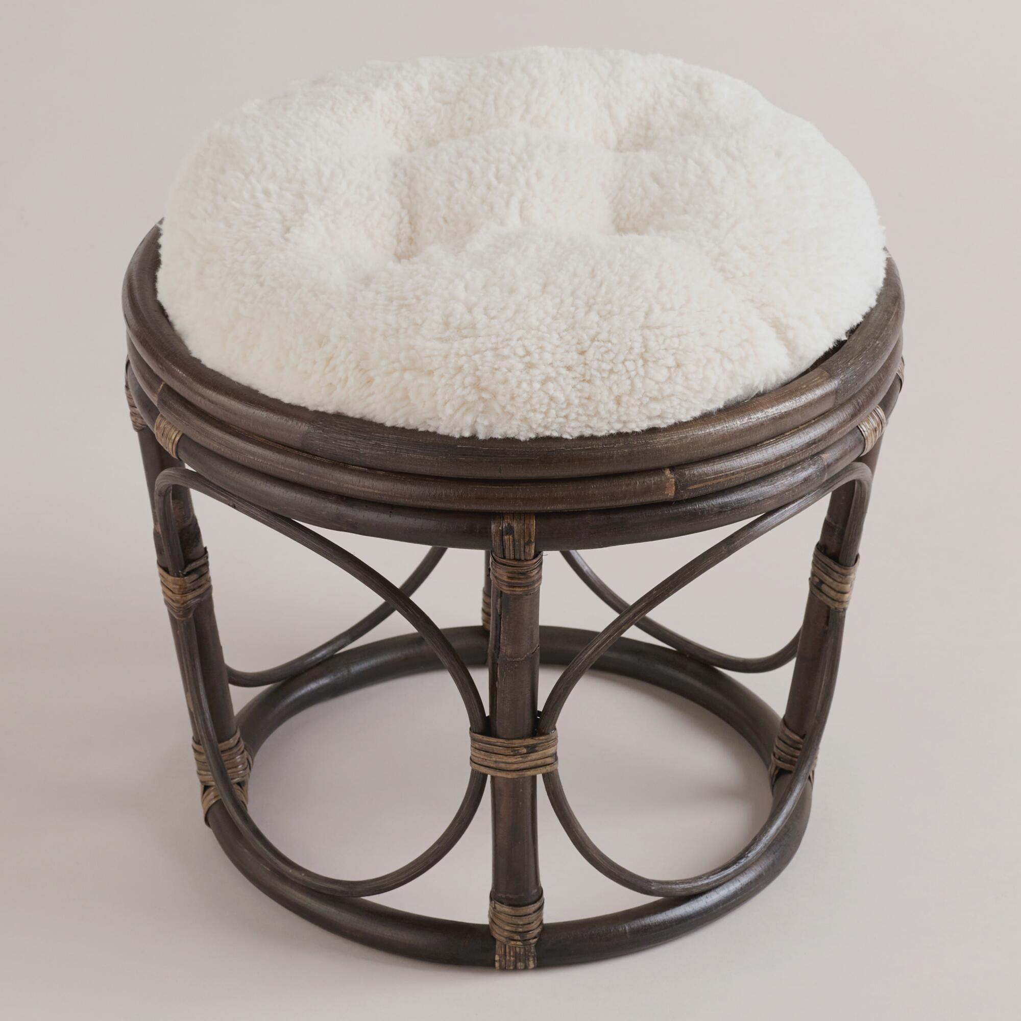 Ivory Faux Fur Papasan Stool Cushion | World Market