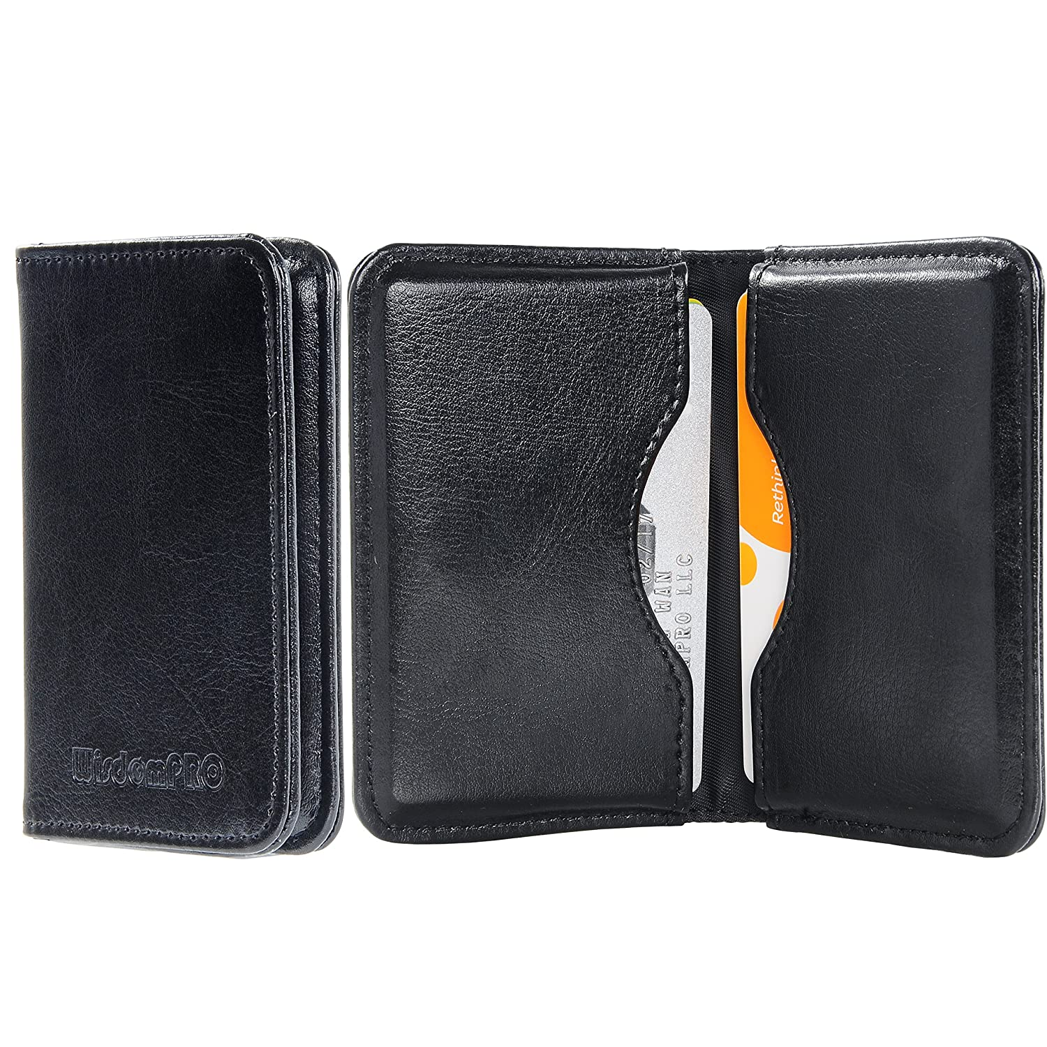 Business Card Holder Wisdompro 2-Sided Leather Folio Name Card ...