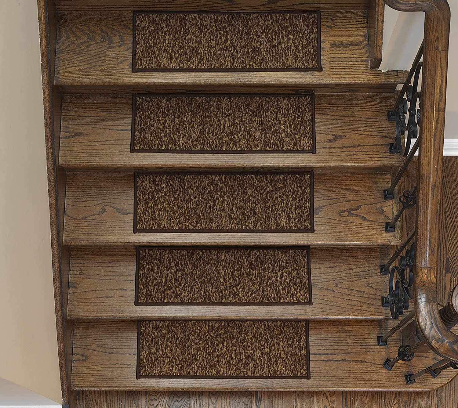 Ottomanson Homeline Escalier Collection Stair Treads, 8.5X26, 7 Pack, Brown 8.5X26 ESC8408-8X26