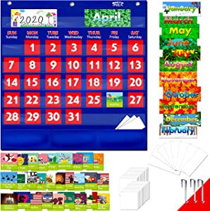 "Blue Calendar Pocket Chart with 104 Cards,(72 Illustrated Activity Cards, 32 Dry Erasable Flash Cards and 3 Hooks 20""x22"")"