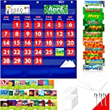 Blue Calendar and Weather Pocket Chart with 104 Cards,(72 Illustrated Activity Cards, 32 Dry Erasable Flash Cards and 3 Hooks
