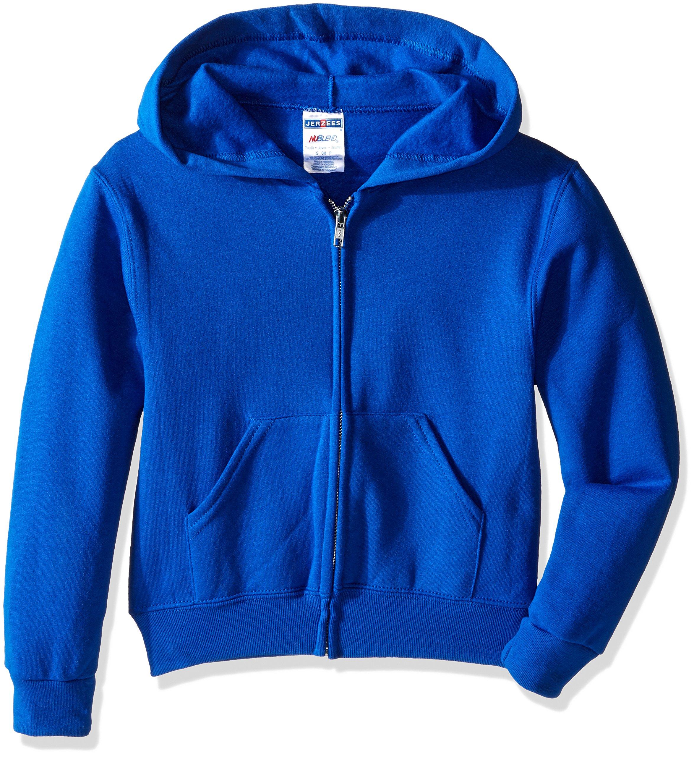 Jerzees Youth Full Zip Hooded Sweatshirt, Royal, Large