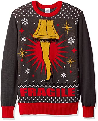 a christmas story mens fragile leg lamp ugly christmas sweater charcoalred medium