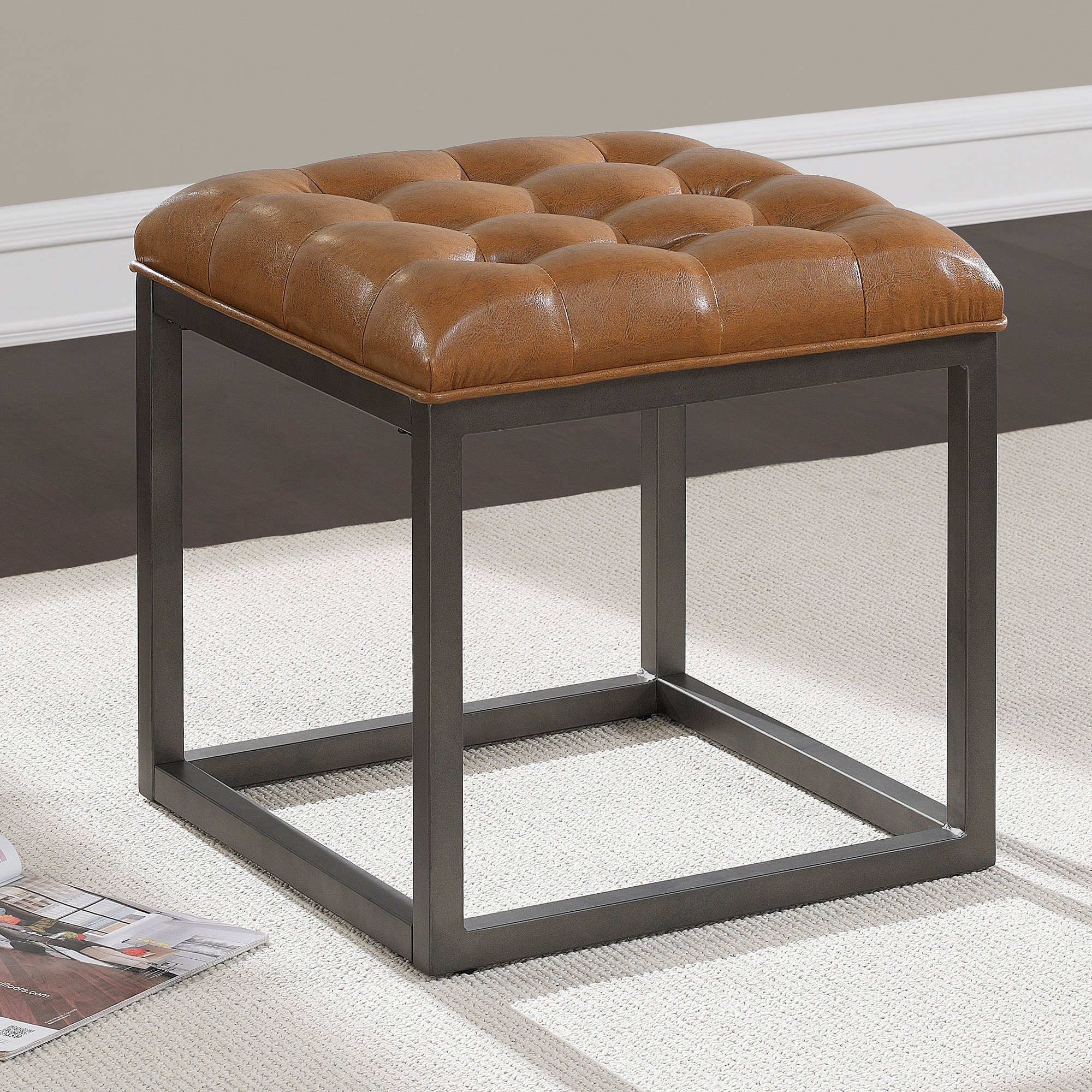 Ottoman in Saddle Brown Contemporary, Transitional Mini Square Ottoman - 18 in High x 18 in Wide x 18 in Deep