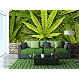 Wall26 Big Marijuana Leaf Close Up With Texture Background Of Cannabis Leaves Removable Wall