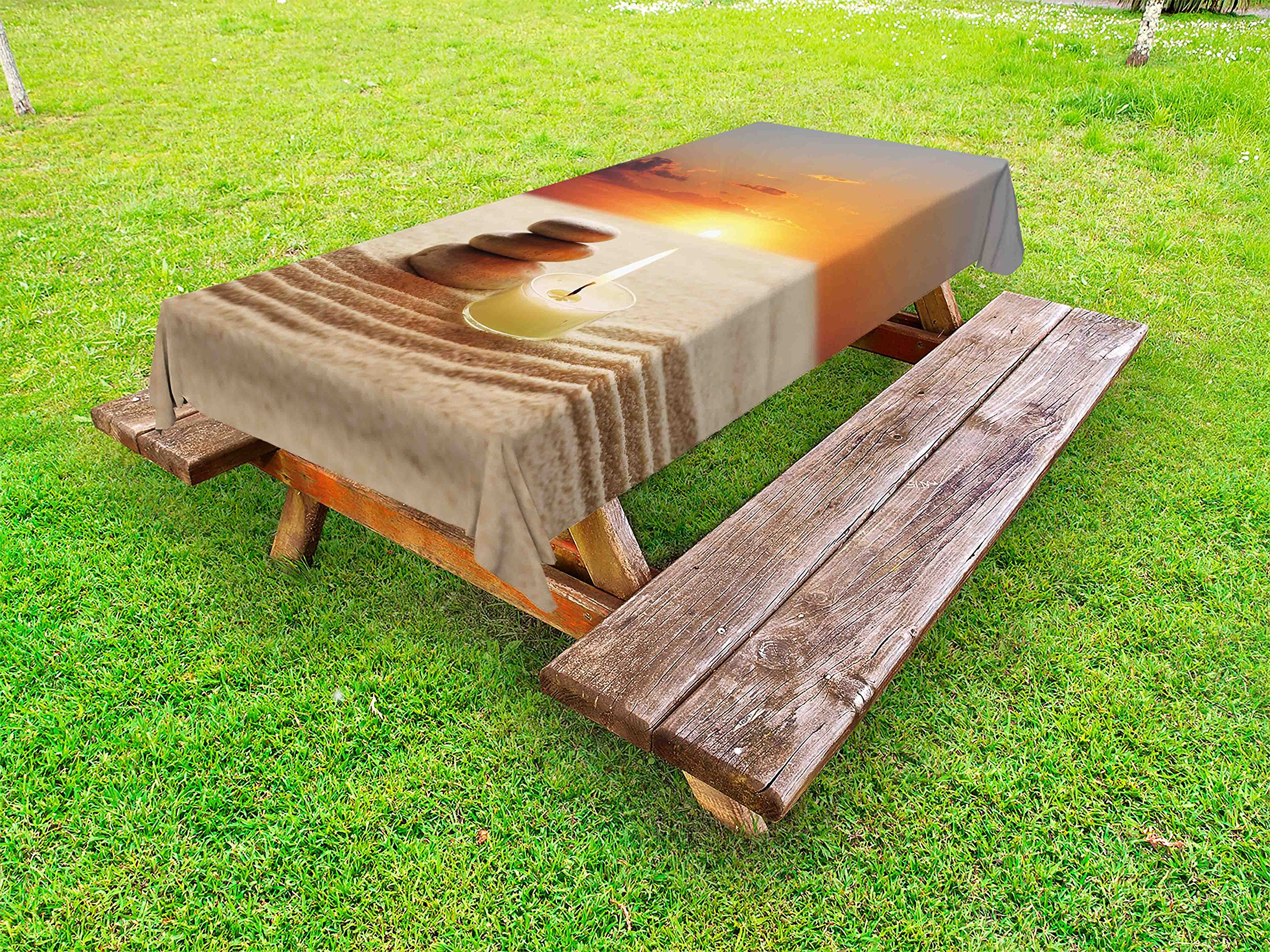 Lunarable Spa Outdoor Tablecloth, Little Candle with Three Stones Middle of Sand with Sunset Serene Landscape, Decorative Washable Picnic Table Cloth, 58 X 84 inches, White Brown and Orange