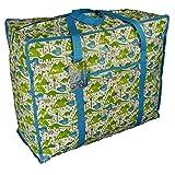 Grand sac de stockage bleu et vert avec poche. Motif des dinosaures. Pour jouets, lavage etc.