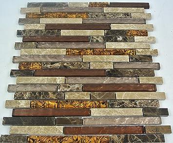 Fliesen Glas  Mosaikfliese Bad Marmor Braun Beige Naturstein Mosaik 8mm Neu  #004