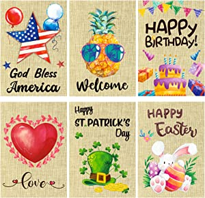 WATINC 6Pcs Watercolor Seasonal Garden Flags for Holiday Decorations Independence Day Valentine's Day Welcome Birthday Double Sided Burlap Seasonal House Flags for Outdoor Yard 12.2 x 18.3 Inch