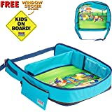 "Toddler Travel Tray (16""x13"") Sturdy Snack and Play Kids Activity Tray for Car Seat, Train or Airplane! Comfortable & Firm Lap Tray for Kids in Car 