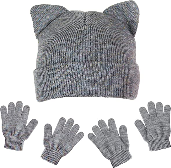 529d115df Girls Metallic Kitty Cat Ear Stretch Beanie Winter Hat and Sparkle Gloves  Gift Set (Gray