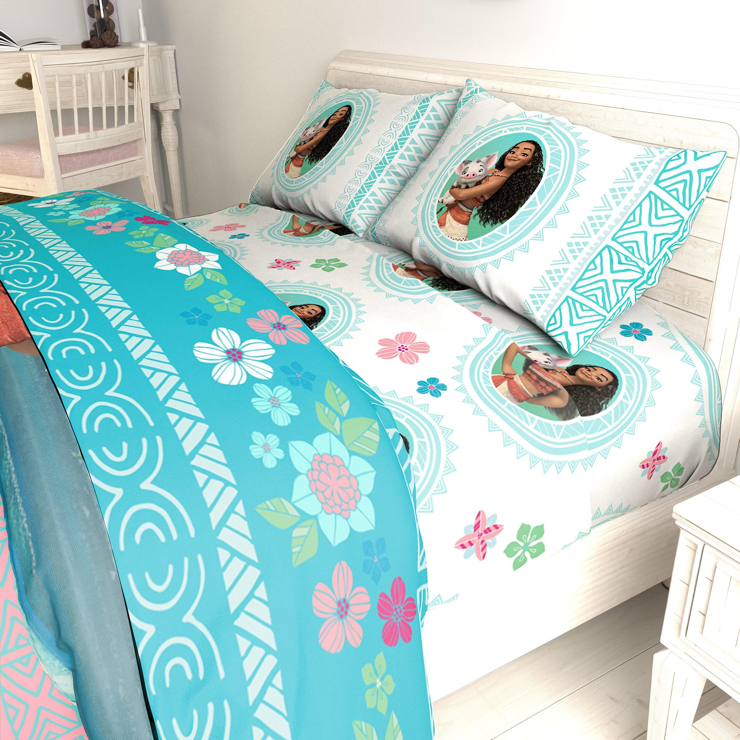 LO 5 Piece Kids Girls Blue Cute Disney Moana Comforter Twin/Full Set, Adorable Hawaii Bedding Children Beach Themed Flowers Movie Themed Hawaiian Tropical Ocean, Polyester by LO