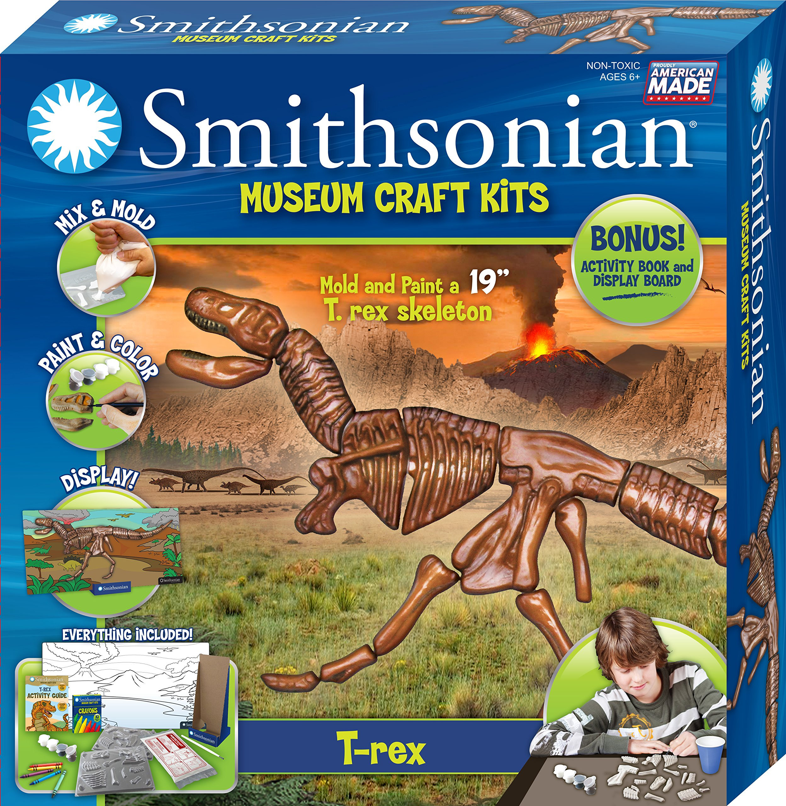 Smithsonian 19'' Tyrannosaurus Rex Perfect Cast Museum Cast, Paint, Display and Learn Craft Kit