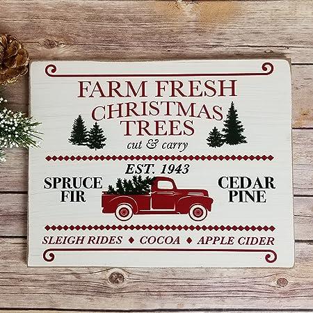 Amazon Com Farmhouse Christmas Sign 9 25 X 11 75 Farm Fresh