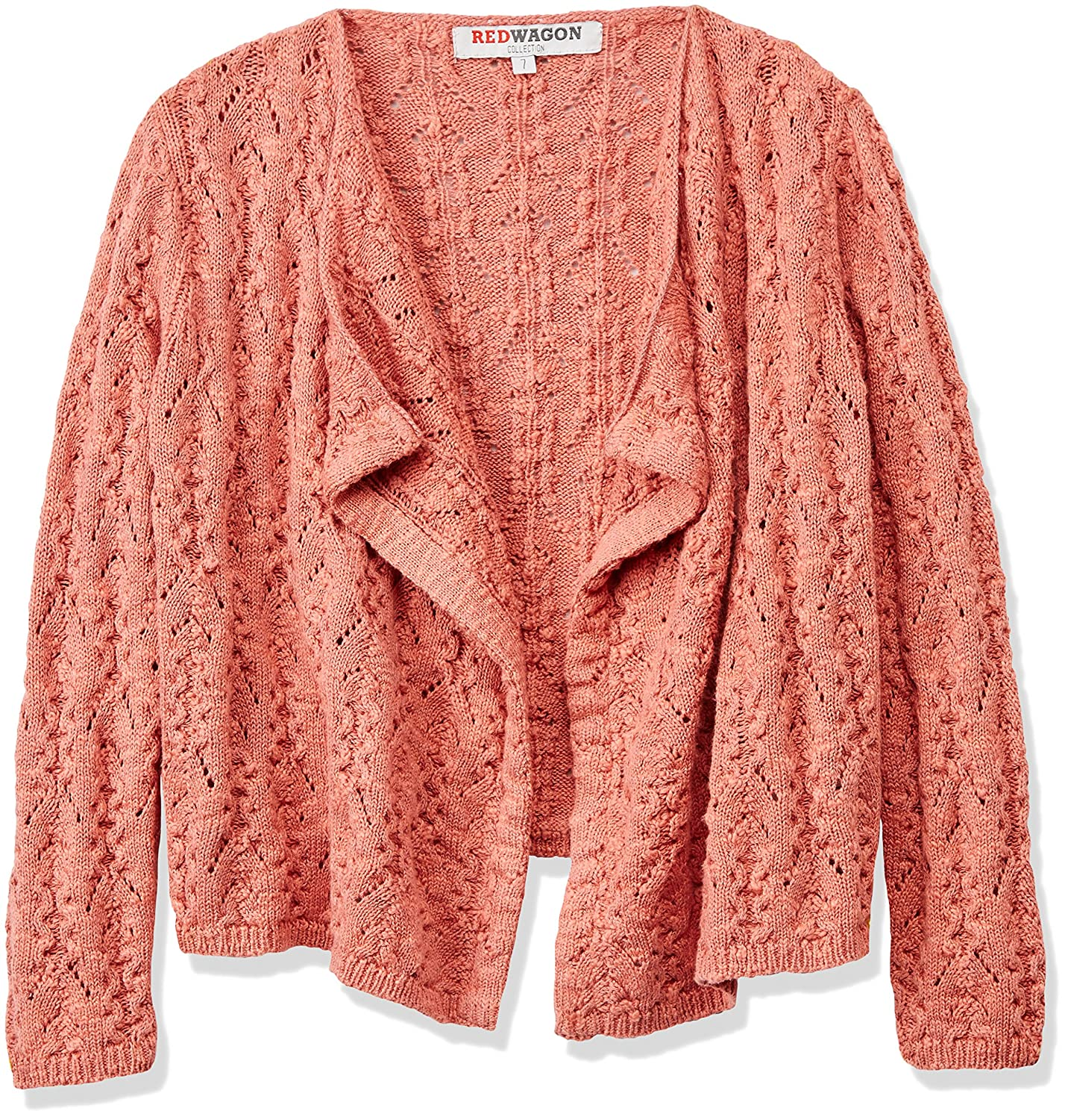 RED WAGON Girl's Pointelle Waterfall Cardigan 2158