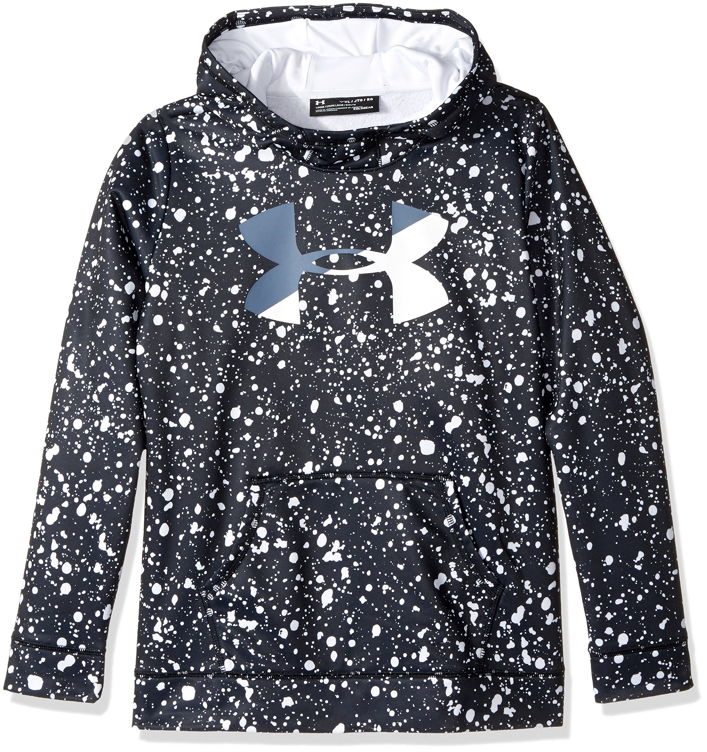 Under Armour Girls' Armour Fleece Big Logo Novelty Hoodie,Black /White, Youth X-Small by Under Armour