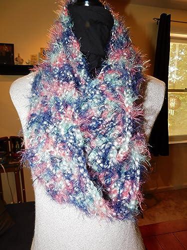Amazon com: Handmade Crochet Infinity Scarf Blues & Pinks, Thick