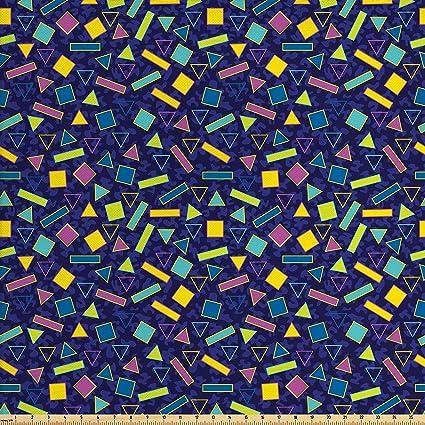 Amazon com: Ambesonne Geometric Fabric by The Yard, 80s