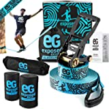 Slackline Kit 60ft with Tree Protectors, Ratchet Cover, Instructions and Carry Bag   OPTIONAL Training Line + Arm…