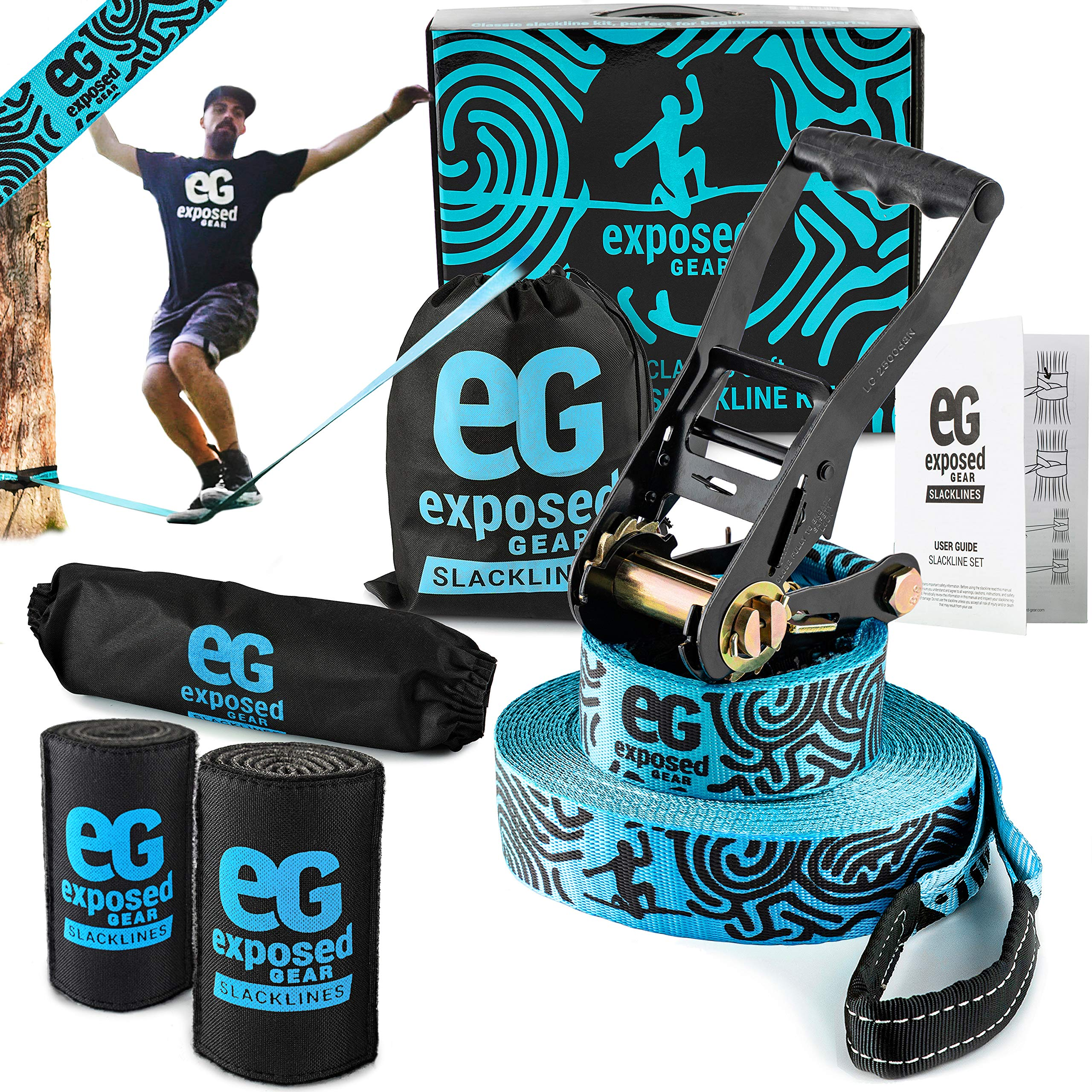 Exposed Gear Slackline Kit with Tree Protectors High Grade Ratchet + Cover Arm Trainer Set Up Instruction Booklet and Carry Bag | Classic 60 ft Slack Line Set | Perfect Slackline for Kids and Adults by Exposed Gear