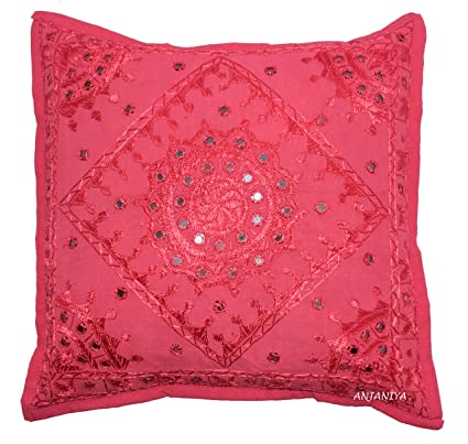 dbfd7e5043 ANJANIYA Mirror Embroidered Cushion Cover 16x16 inches Indian Boho Hippie  Throw Pillow Cover Decorative Bohemian Hand