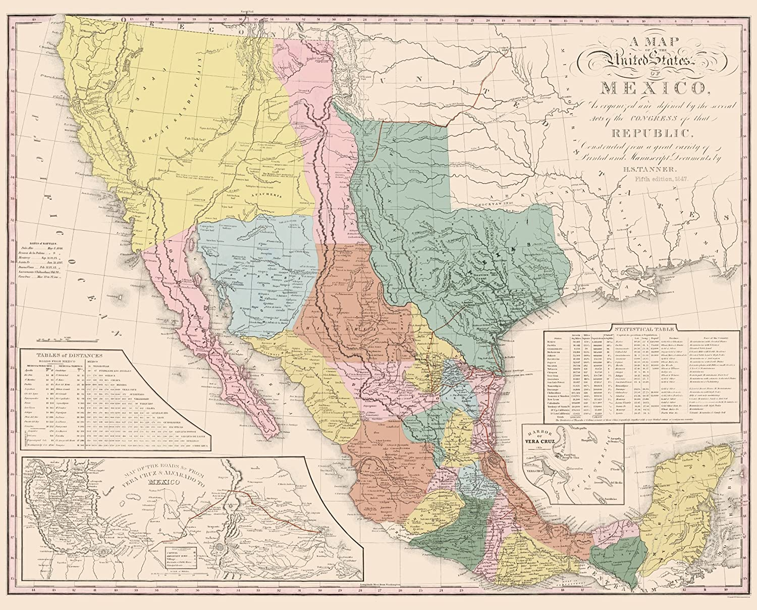 Amazon Com Old Mexico Map United States Of Mexico Tanner 1847
