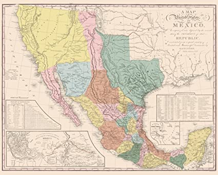 Map Of Old Mexico Amazon.com: Old Mexico Map   United States of Mexico   Tanner 1847
