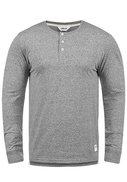 !Solid Espen Camiseta Básica De Manga Larga Longsleeve para Hombre con Cuello Grandad De 100% Algodón gmWKO9k