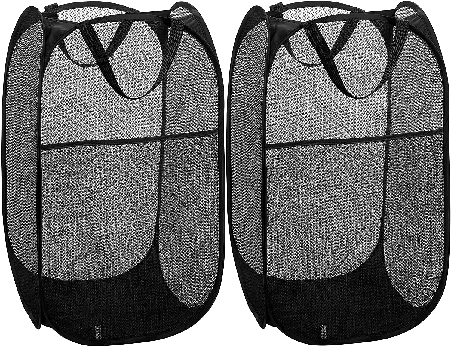 Mesh Popup Laundry Hamper - Portable, Durable Handles, Collapsible for Storage and Easy to Open. Folding Pop-Up Clothes Hampers are Great for The Kids Room, College Dorm or Travel. (Black | Set of 2)