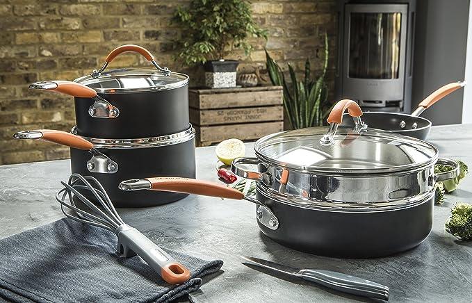 Joe Wicks 11655 - Batería de cocina antiadherente de aluminio de fácil liberación, negro y naranja, 22/24/28 cm: Amazon.es: Hogar