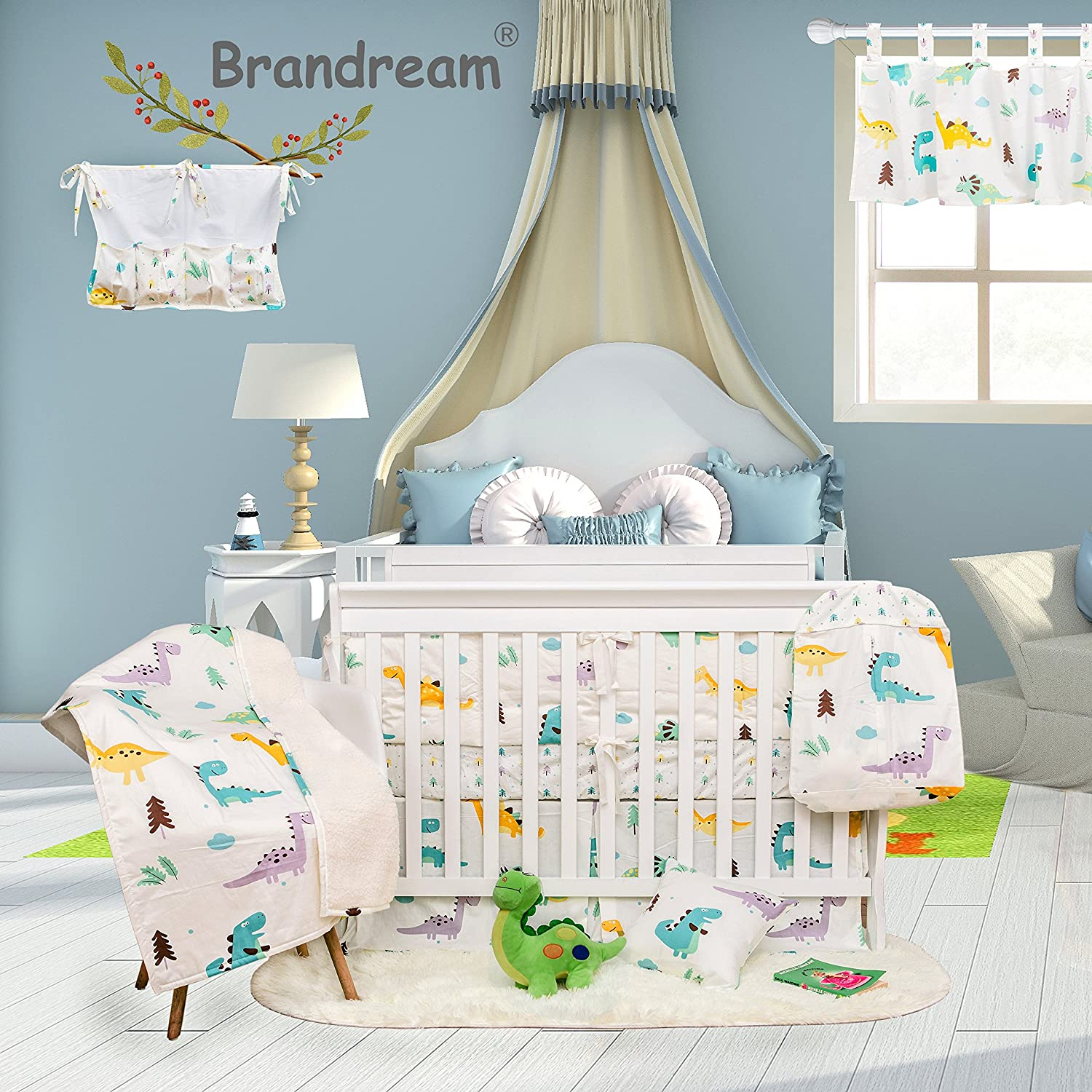 Brandream Dinosaur Crib Bedding Sets for Boys with Bumper Pads 100% Hypoallergenic Cotton Baby Nursery Bedding Set 11 Pieces