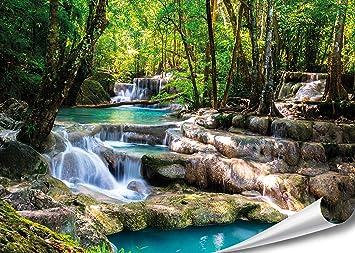 PMP 4life Wasserfall Im Wald Natur HD XXL Poster 140cm X 100cm  Hochauflösende Wand