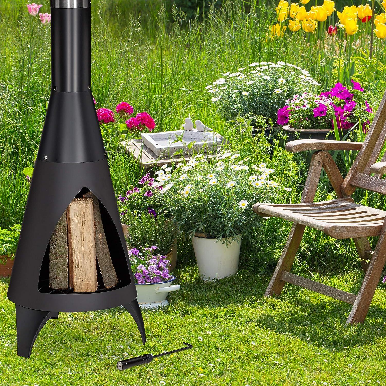 Relaxdays, Negro Brasero de jardín con atizador, Chimenea Decorativa, para Listones de Madera, 120 x 45 cm, Acero: Amazon.es: Jardín