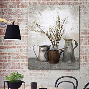 """Courtside Market Farmhouse Three Watering Cans 20""""x24"""" Gallery-Wrapped Canvas Wall Art - Vintage, Brown, Floral, Tan, Gold, Black, Multi"""